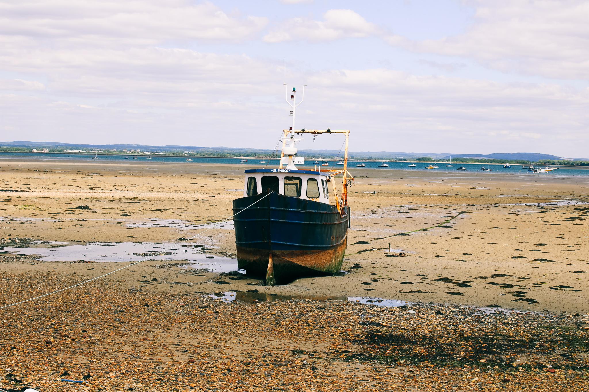 Ship at low tide